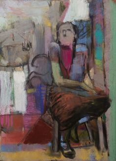 """I sat on the balcony waiting for the Gothic festival with the parade, the banners and the mayor's speech. I didn't need a medieval speech - I needed the Renaissance and the Enlightenment. Some Impressionist artists set their easels in the park just below me. 2015. Pastel. 12"""" x 9."""" Casey Klahn."""