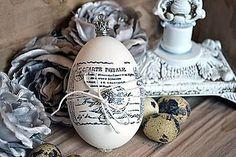 Dekorácie - Shabby vintage husacia kraslica - 4969087_