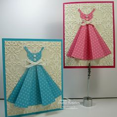 Dress cards by Becky Roberts. Pattern for the dress on Splitcoast Stampers under Home>Anything BUT a card>Templates.
