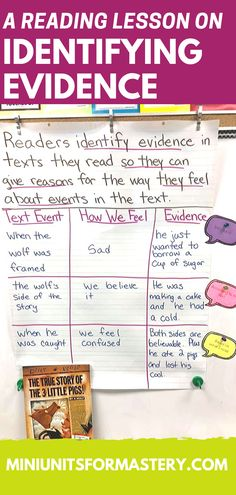 A Reading Lesson on Finding Text Evidence, First Grade Science, Fourth Grade Math, Third Grade, Anchor Charts, 7th Grade Math Worksheets, Kindergarten Assessment, 3rd Grade Writing Prompts, 3rd Grade Spelling Words, Nutrition