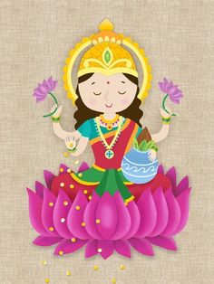 This is a copy of my original illustration. It is a cute version of Goddess Laxm… This is a copy of my original illustration. It is a cute version of Goddess Laxmi especially made for children and young at heart grownups. Diwali Cards, Diwali Greetings, Diwali Wishes, Happy Diwali, Diwali Painting, Diwali Drawing, Durga Painting, Buddha Kunst, Buddha Art
