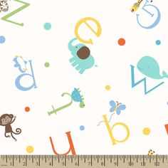 Soft N Comfy Fabric- Alphabet Zoo So cute for my nursery theme idea!