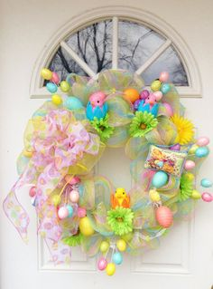 Easter Deco Mesh Wreath by ViennaSparkleWreaths on Etsy, $105.00