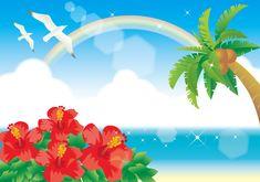 フリーイラスト, ベクトルデータ, AI, 風景, 自然, 海, ビーチ(砂浜), 虹, 椰子(ヤシ), 夏, リゾート, 花, ハイビスカス, 赤色の花, 鴎(カモメ),