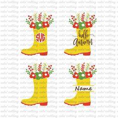 Boots svg rubber rein svg flower svg Autumn svg monogram