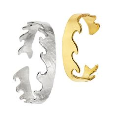 Exclusively for Whisper, Noel has imagined this wave as a cuff bracelet that puts the essence of the ocean on your wrist. Available in either sterling silver for him or osby for her, a mix of brass and bronze, it is 6 inches long for her and 7 inches in length for him. Both are 0.5 inches high and are adjustable to fit most wrists. Amongst artist and jeweler Lina Noel's many inspirations are antique Japanese woodblock prints. One, of stylized waves, is an ongoing reference point.