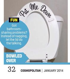 $6.00 FEAT IN COSMOPOLITAN MAGAZINE Put Me Down Toilet Decal  As Seen in by DownTheAisleVinyl on Etsy