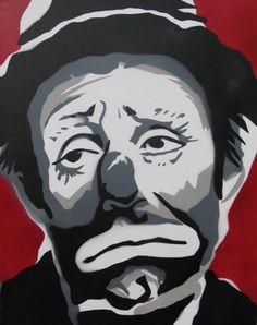 Sad Clown Art Painting - Emmett Kelly - Spraypaint On Canvas - Original by LexiconCreative on Etsy https://www.etsy.com/listing/401015349/sad-clown-art-painting-emmett-kelly