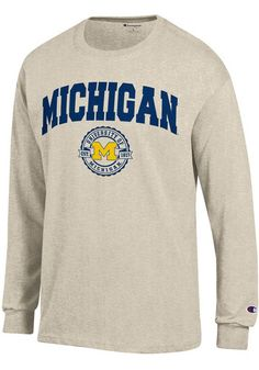 dd85d22f023a Champion Michigan Wolverines Oatmeal Official Seal Long Sleeve T Shirt,  Oatmeal, 100% COTTON, Size S