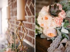 Vintage wedding details and bouquet / Marcie Meredith Photography