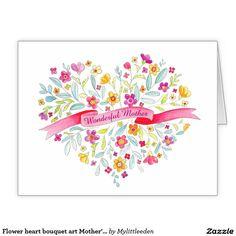 Flower heart bouquet art Mother's Day card. Watercolor art and design by www.mylittleeden.com #mothersdaycard