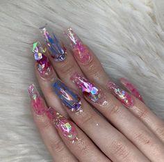 #jellynails #acrylicnails #acrylics #nails #nailart #AcrylicNailsAlmond Baby Pink Nails Acrylic, Almond Acrylic Nails, Summer Acrylic Nails, Purple Nails, Glitter Nails, Cute Spring Nails, Cute Nails, Pretty Nails, Nails Now