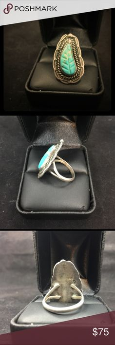 Gorgeous turquoise leaf ring 925 sterling silver and stabilized turquoise. Leaf detail in turquoise with rope and sunrise detail in silver! Gorgeous! Native American Jewelry Rings