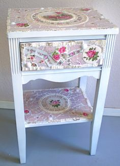 Mosaic Nightstand with Vintage China