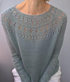 One more Ranunculus by Midori Hirose Sweater Knitting Patterns, Lace Knitting, Knitting Stitches, Crochet Shirt, Knit Crochet, Gilet Long, Knit Stockings, Knit Basket, Summer Knitting