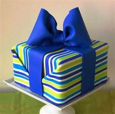Colorful wrapped present cake