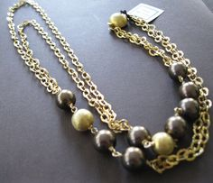 Rich Chocolate Bronze Shell Pearl Vermeil Layered Double Strand Necklace - Sample Sale on Etsy, $108.00