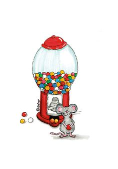 So stinking cute - what can I do with this? Cute Mouse with a Gumball Machine