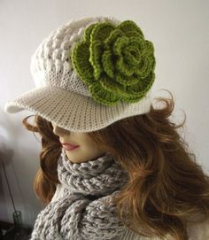 Crochet Hat, Newsboy Hat, Slouchy Hat, Winter Woman Hat with detachable Crochet Flower, White and Green, Newsboy Cap by