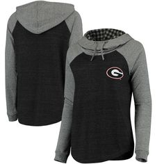 Georgia Bulldogs Blue 84 Women's Tri-Blend Plaid Funnel Neck Pullover Hoodie - Black - $49.99