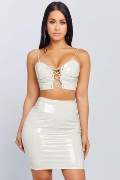 Ayesha Lace Up Set - Honeybum Skirt Outfits, Sexy Outfits, Fashion Outfits, Tight Dresses, Sexy Dresses, Red Satin Dress Short, Vinyl Clothing, Hollywood Fashion, Sexy Hot Girls