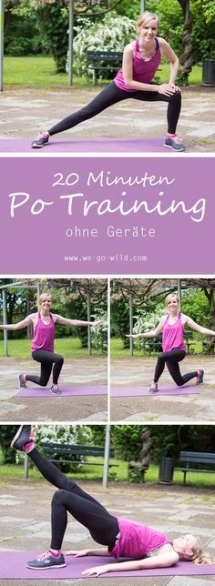 Mit diesem Po Training kommst du in nur 20 Minuten zu einem Knackpo. Ein tolles Training ohne Geräte für das du nur dein Körpergewicht brauchst. #training #bauchbeinepo #fitnessübungen