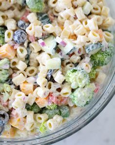The absolute BEST Creamy Pasta Salad loaded with veggies and tossed in a sweet and tangy dressing. This is the perfect pasta salad for parties and potlucks! Creamy Pasta Salads, Best Pasta Salad, Pasta Salad Recipes Cold, Summer Pasta Salad, Cold Pasta Salads, Creamy Macaroni Salad, Macaroni Salads, Best Macaroni Salad, Cucumber Pasta Salad
