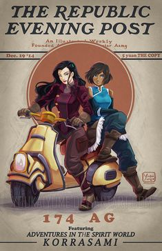 """""""Legend of Korra"""" poster inspired by old """"Saturday Evening Post"""" Magazine covers."""
