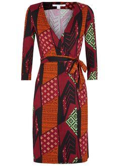 Diane von Furstenberg multicoloured�silk wrap dress Printed Waist tie fastenings at wrap front 100% silk