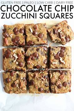 best low carb, gluten free, and dairy free recipe for chocolate chip zucchini squares! Super easy and delicious! You need this in your life! Healthy Dessert Recipes, Gluten Free Desserts, Dairy Free Recipes, Gourmet Recipes, Dairy Free Chocolate Chips, Chocolate Recipes, Delicious Chocolate, Nutritious Snacks, Healthy Snacks