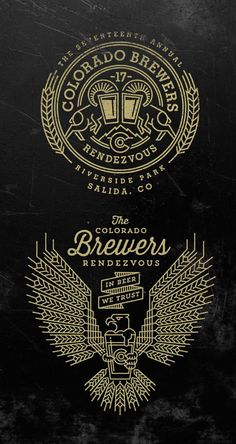 Colorado Brewers Rendezvous Logos by Jared Jacob of Sunday Lounge Typography Logo, Typography Design, Lettering, Brand Identity Design, Branding Design, Wm Logo, Logo Luxury, Typographie Inspiration, Web Design