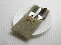Burlap silverware holders for weddings Set of 10 -  Rustic table decor $12