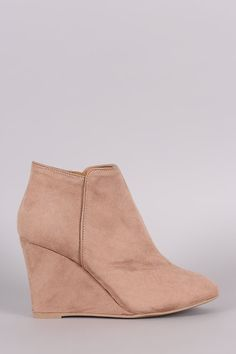 Qupid Suede Round Toe Wedge Booties