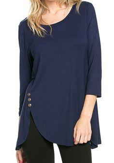 Blue Plain Irregular Buttons Round Neck Long Sleeve T-Shirt