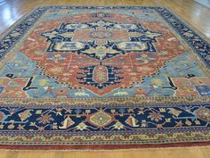 Fine Serapi Heriz. This is a fine example of a traditional hand woven carpet. It is a true hand knotted oriental rug of very high quality and very well defined. Ivory, Gold, Denim Blue, Light Green, Sky Blue, Salmon. | eBay!