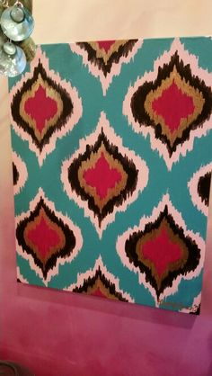 Ogee Ikat hand painted canvas by Lezley Lynch Designs, Edmond, OK