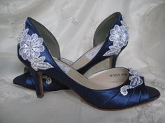 Wedding Shoes With Lace and Pearls Navy Blue - Over 100 Colors And Heel Heights To Pick From on Etsy, $164.77 AUD