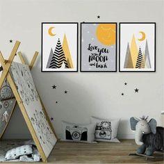 Art Wall Kids, Nursery Wall Art, Nursery Prints, Baby Room Decor, Wall Decor, Mustard Yellow Curtains, Posca Art, Scandinavian Nursery, Decoration