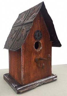 Barn Wood and Tin Birdhouses are bird-approved for lasting use. Handmade Rustic Birdhouse features sealant and easy clean-out, ideal for indoor decor too. Bird House Plans Free, Bird House Kits, Vintage Drawer Pulls, Vintage Drawers, Birdhouse Designs, Birdhouse Ideas, Bird Aviary, Into The Woods, House Gifts