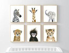 Baby Animal prints, Nursery Print Set Safari Nursery Art Prints Baby Animal Print Baby Elephant Safari Nursery decor Babt animal art - Let your little one's room warm and pleasant! This animal portrait art prints collection features - Baby Animal Nursery, Giraffe Nursery, Safari Nursery, Nursery Prints, Nursery Wall Art, Girl Nursery, Nursery Decor, Baby Animals, Baby Room Decor