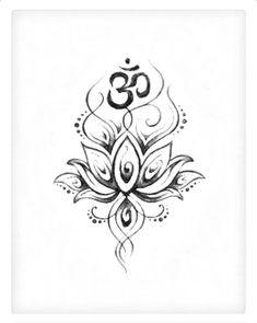 Om Symbol And Lotus Tattoo Design - lotus with om tattoo designs