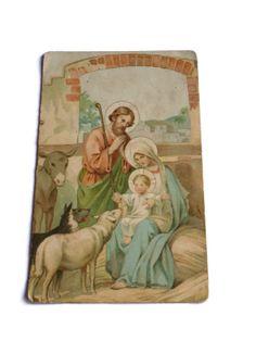 Vintage Religious Postcard . Nativity Scene