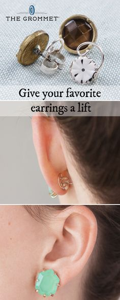 These earring lifts keep heavy studs and other sparklers upright and secure. They offer added support at the back of your ear and are a great solution for stretched out holes. Just swap out your standard post backs to prop up your favorite pair.