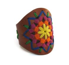 SALE Leather Cuff Woven Threaded Acid Colors Native Style Leather Cuff