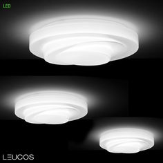 Loop-Line design by R.Toso, N. Massari & Associates with G.Toso for Leucos. Large-scale ceiling design in saatin white, hand-blown glass. Structure in gloss white finish.