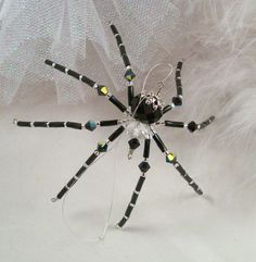 Black and Silver Crystal  Christmas Spider with by Thespiderlady, $8.00