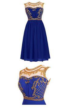 royal blue homecoming dress,chiffon homecoming dress,party dress,short prom dress,gold beads homecoming dress