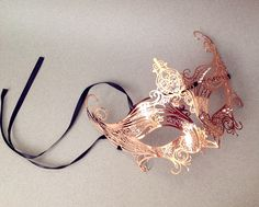 Copper Rose Gold champagne masquerade mask Gossip Girl Serena Mask costume party