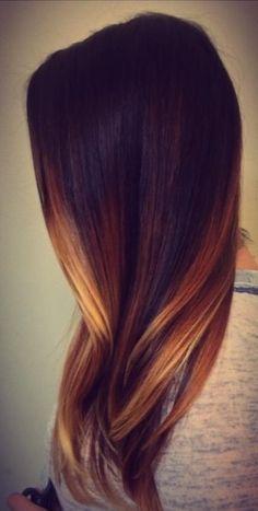 dark brown to golden ombré hair colour idea