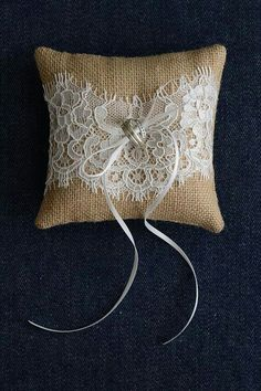 Burlap with lace ring pillow